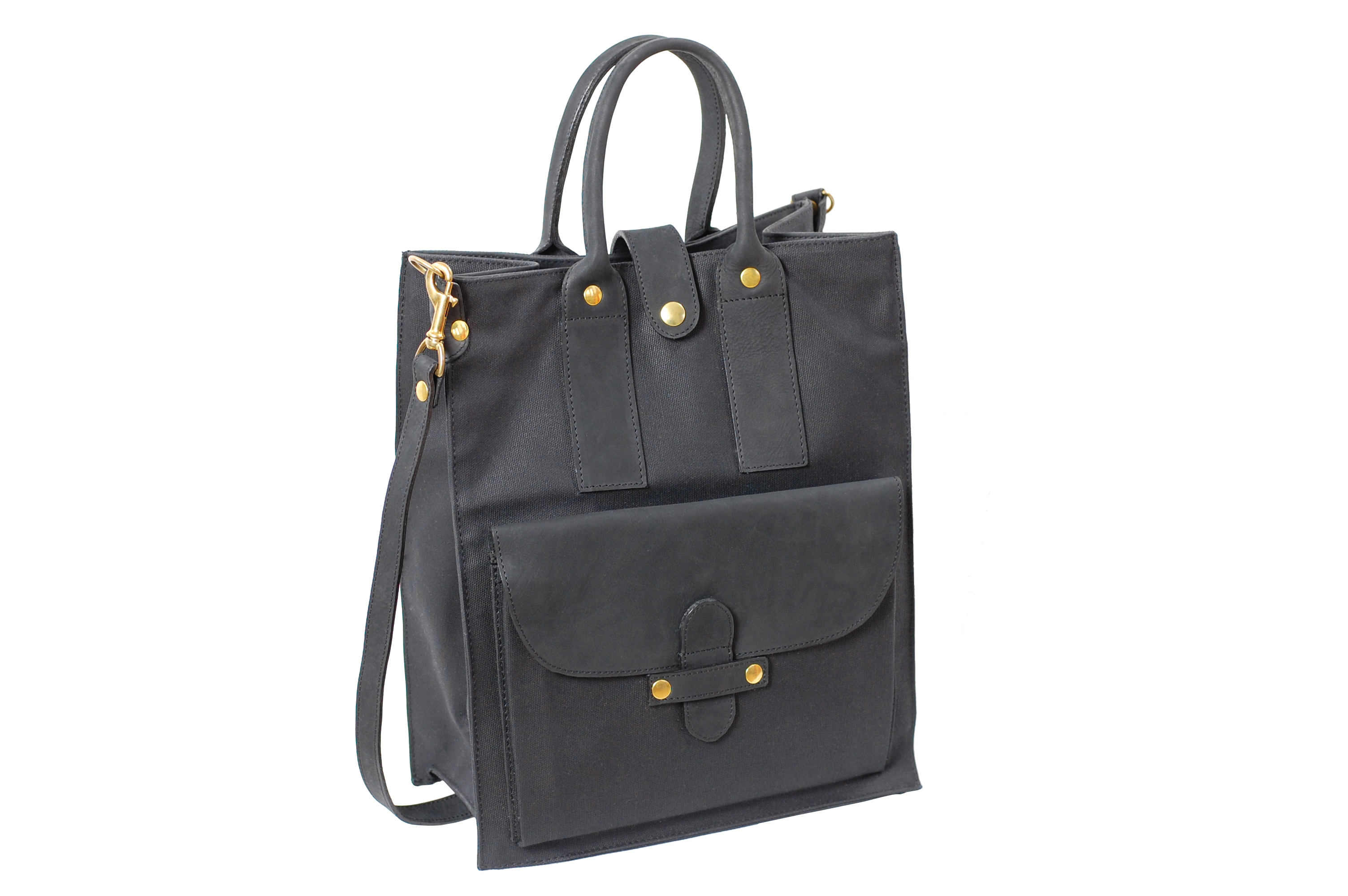 mahiout bags, ACD tote in black waxed cotton canvas, leahter and solid brass fittigns, http://www.mahiout.com, http://www.contractor48.com