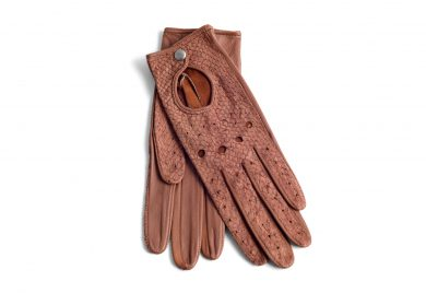 mahiout shelby driving gloves in salmon skin