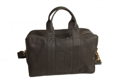 mahiout bag in black leahter and solid brass fittings. http//:www.mahiout.com, //www.contractor48.com